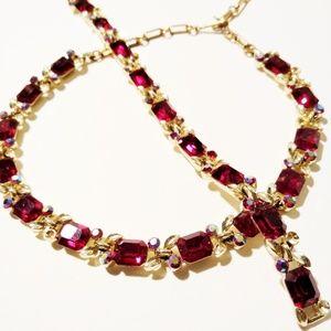 Vintage Lisner Red Rhinestone Bracelet Necklace